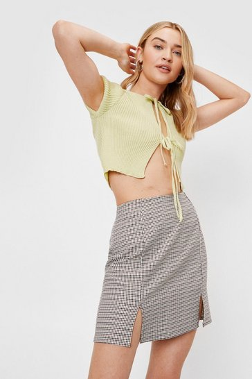 Brown We'll Slit This One Out Check Mini Skirt