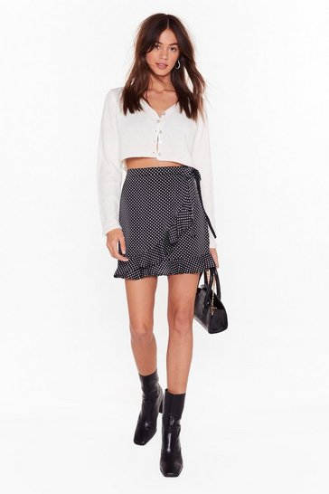 Womens Black We've Dot What It Takes Wrap Mini Skirt
