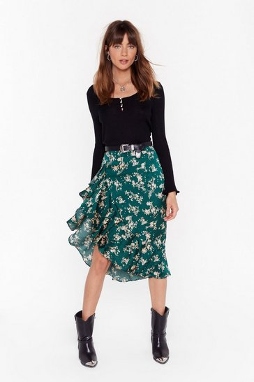 Womens Green  Nothing Bud a Goodtime Floral Midi Skirt