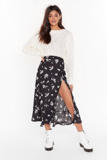 Womens Black We've Dot to Get Growin' Floral Midi Skirt