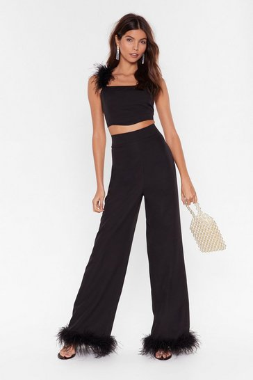 Black Shake Ya Tail Feather Wide-Leg Pants