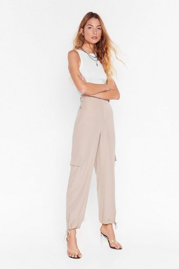 Sand Good Ties Ahead High-Waisted Cargo Pants