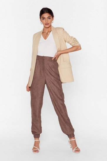 Brown Get to the Bottom of It High-Waisted Tapered Pants