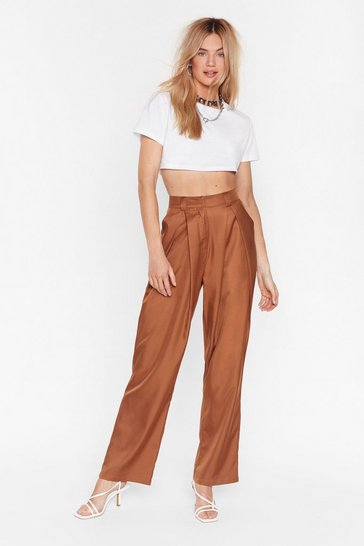 Brown Pleat Things Up High-Waisted Trousers