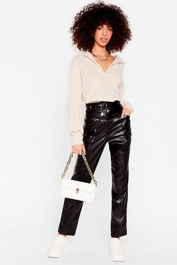 Black Nothin' Seams To Matter Faux Leather Tapered Trousers