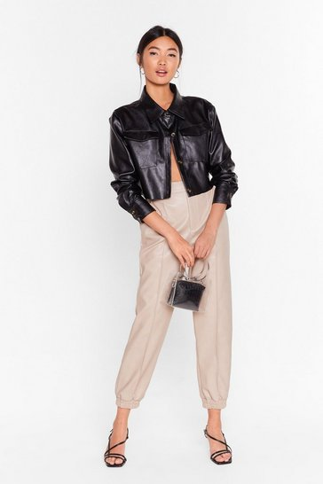 Ecru Faux Leather On Time High-Waisted Jogger Pants