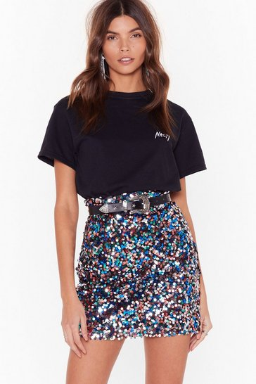 Womens Silver Give Me the Night Sequin Mini Skirt