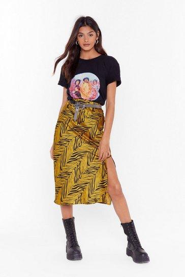 Gold Stripe Where You Want Me Zebra Midi Skirt