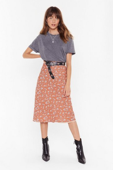 Rust If You Grow Me Floral Midi Skirt