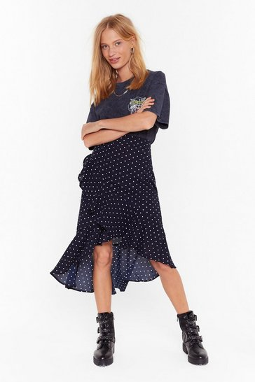 Womens Navy polka dot ruffle midi skirt