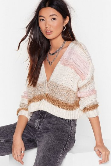 Beige What's Your Stripe Cropped Knit Cardigan