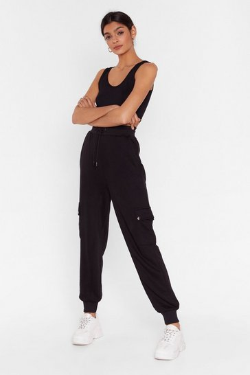 Black Run Baby Run High-Waisted Cargo Joggers