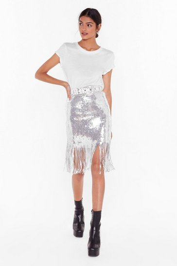 Silver Nasty Gal Studio Into the Groove Sequin Mini Skirt