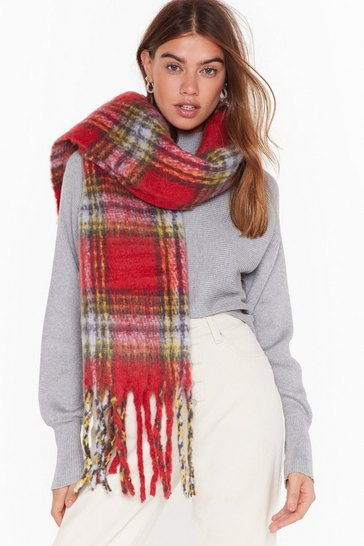 Womens Red You Better Tartan Up Oversized Fringe Scarf