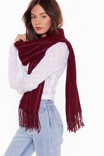 Womens Burgundy Don't Waste My Line Oversized Pinstripe Scarf