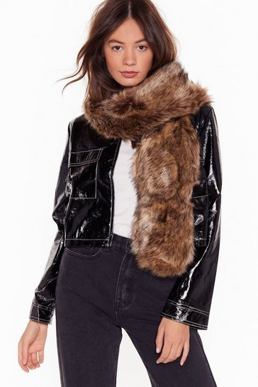 Womens Natural Waitin' Fur You Faux Fur Scarf