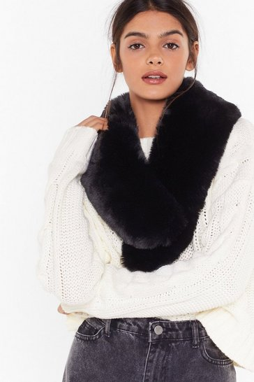 Womens Black How Could We Fur-get Faux Fur Scarf