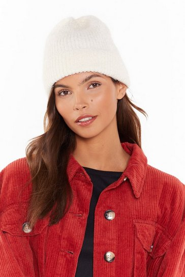 Womens White Break the Ice Knit Beanie
