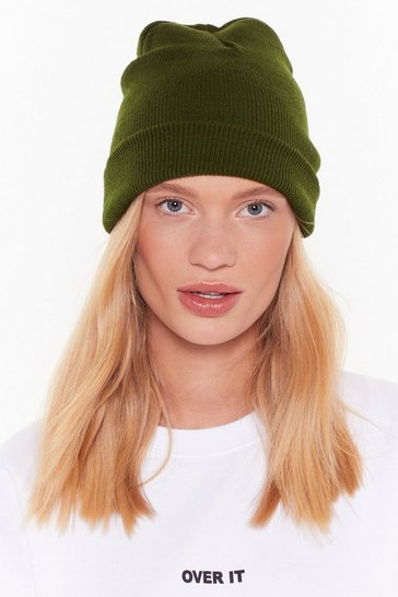 Womens Khaki Hot Headed Ribbed Knit Beanie