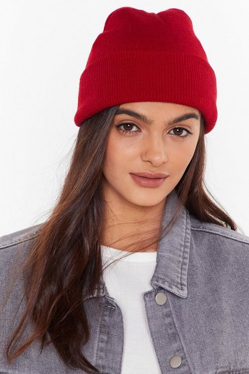 Womens Red Hot Headed Ribbed Knit Beanie