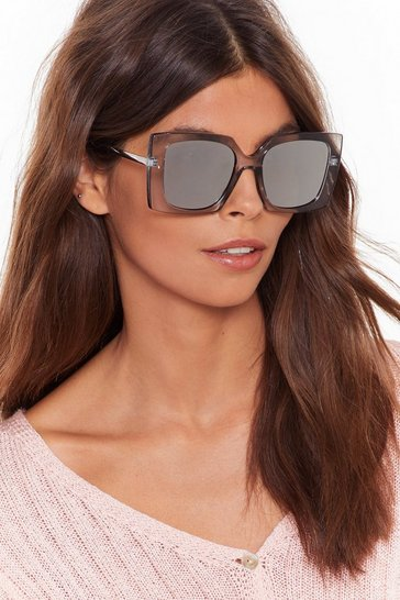Black Oversized Square Metal Arm Sunglasses