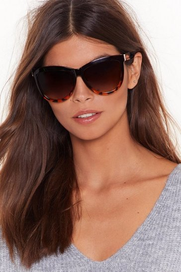 Womens Brown Half Tort Rounded Cat Eye Sunglasses