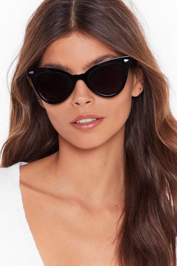 Womens Black You've Gotta Be Kitten Me Cat-Eye Sunglasses