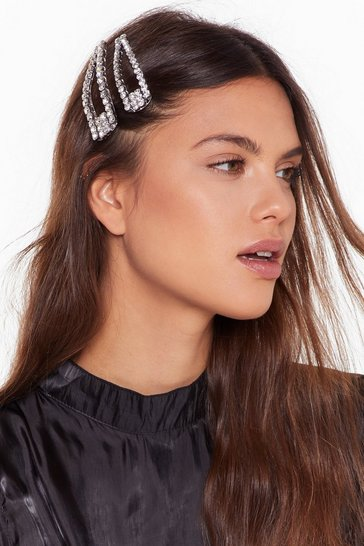 Silver Let Ya Hair Down Diamante 2-Pc Hair Clip Set