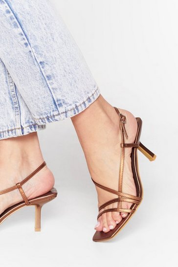 Beige Heel the Music Metallic Strappy Sandals