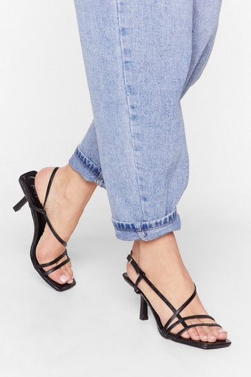 Black Heel the Music Strappy Sandals