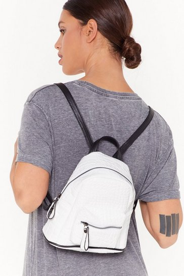 White WANT Back at You Croc Faux Leather Backpack