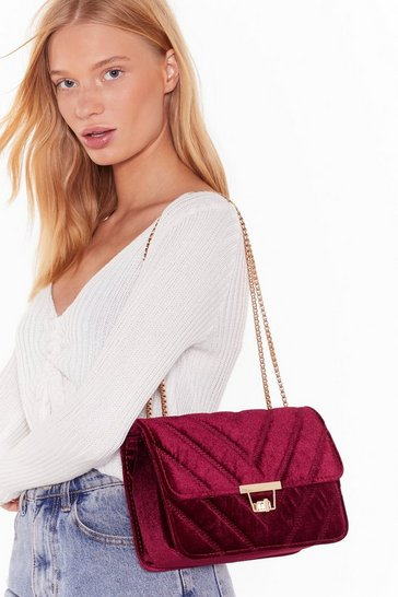 Burgundy WANT Touch Down Velvet Crossbody Bag
