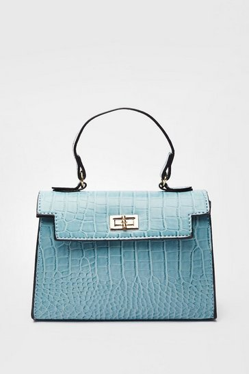 Blue WANT Croc It Out Faux Leather Crossbody Bag