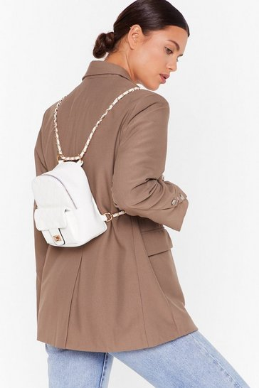 White WANT No Quilt Faux Leather Backpack