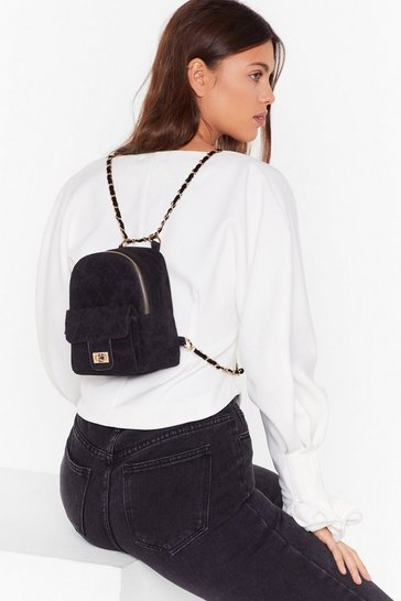 Womens Black WANT Get in Touch Velvet Backpack