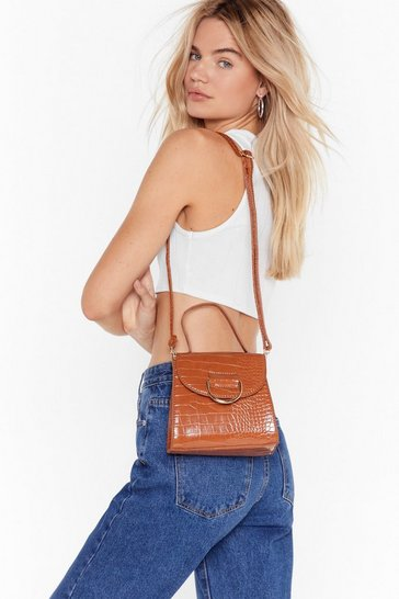 Tan WANT Croc Off Faux Leather Crossbody Bag