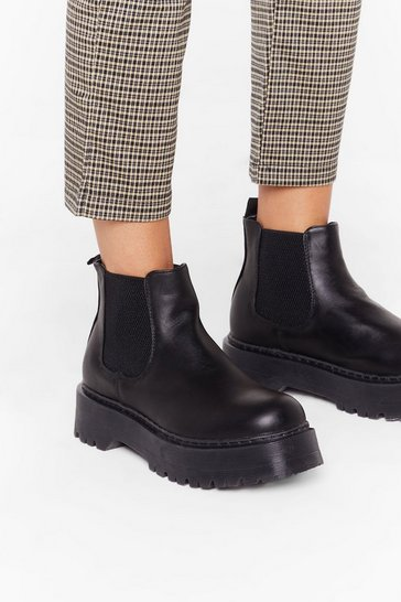 Black Pick Up the Pace Faux Leather Platform Boots
