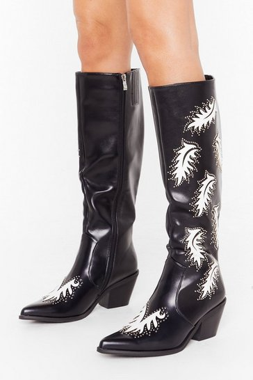 Womens Black Cowboy Take Me Away Faux Leather Knee High Boots