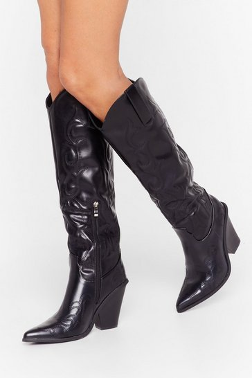 Black Here Come the Cowboys Faux Leather Knee-High Boots