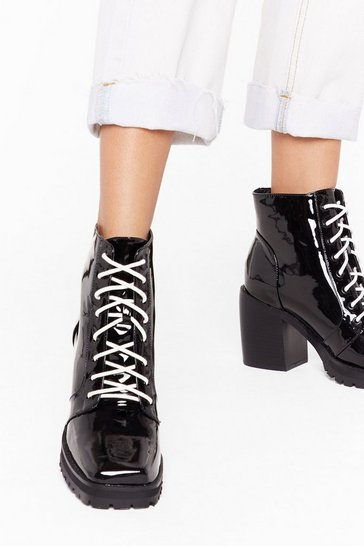 Black Livin' in the Contrast Lane Patent Ankle Boots