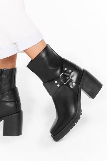 Womens Black Don't O-ring Me Down Faux Leather Ankle Boots
