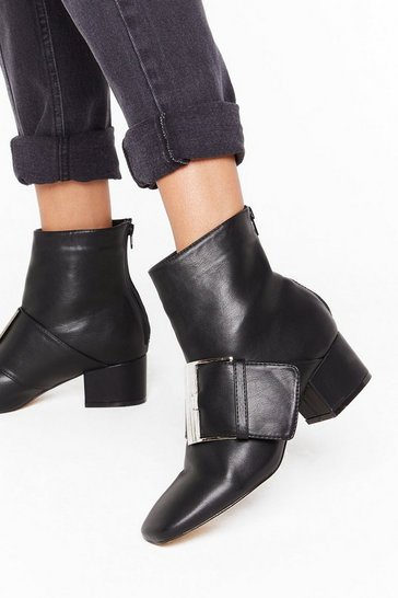 Black Good Buck-le Faux Leather Boots