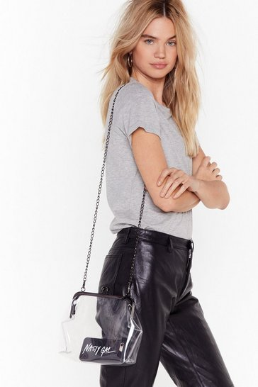 Gun metal WANT See It So Clear Chain Crossbody Bag