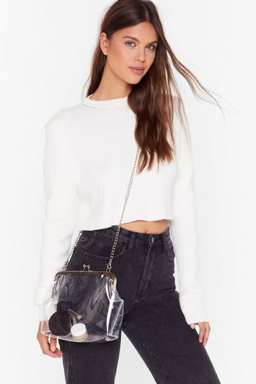 Silver WANT See It So Clear Chain Crossbody Bag