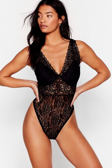 Black Keep the Lace Cupped High-Leg Bodysuit