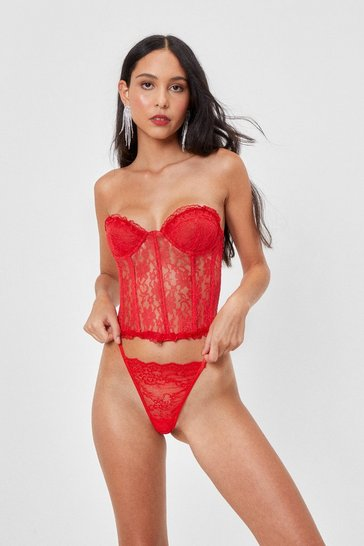 Red Let Love Take It's Lace Corset Top