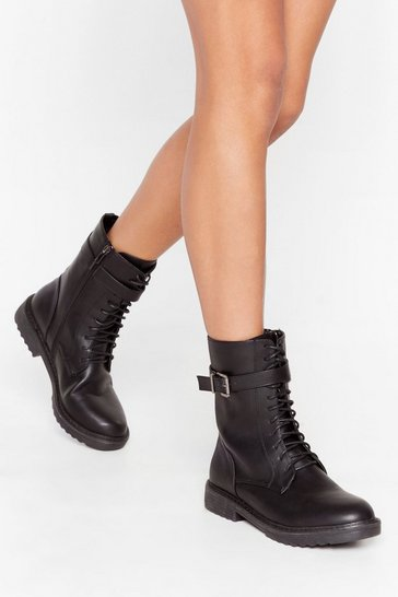 Black All Over the Lace Faux Leather Biker Boots