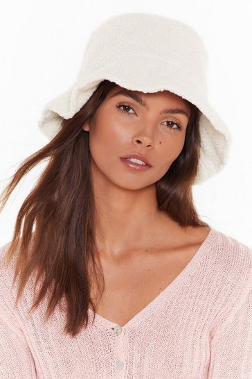 Womens Cream Borg bucket hat