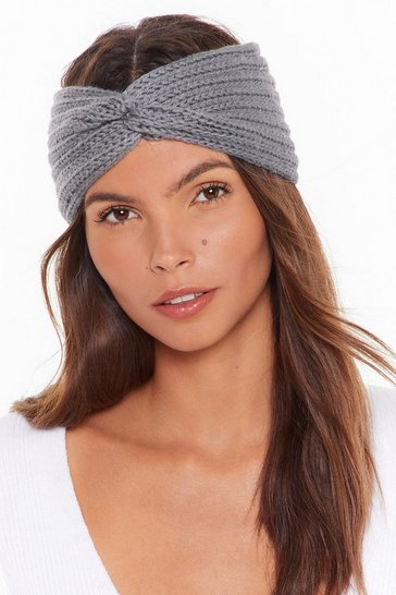 Womens Grey Stay Cozy Knitted Knot Headband