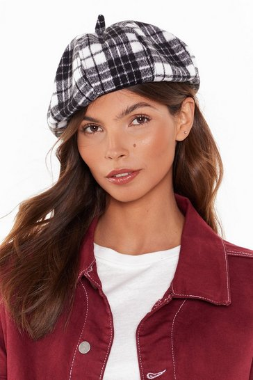 Womens Black Check Mate Beret